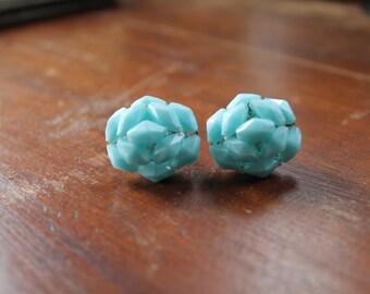 Vintage Aqua Bead Cluster Clip On Earrings, Germany