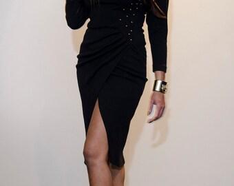 Roxanne 80s Black Knit Tulip Skirt Sheath Dress