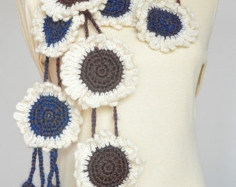 Sunflower - Cream - Crochet Flower Scarf