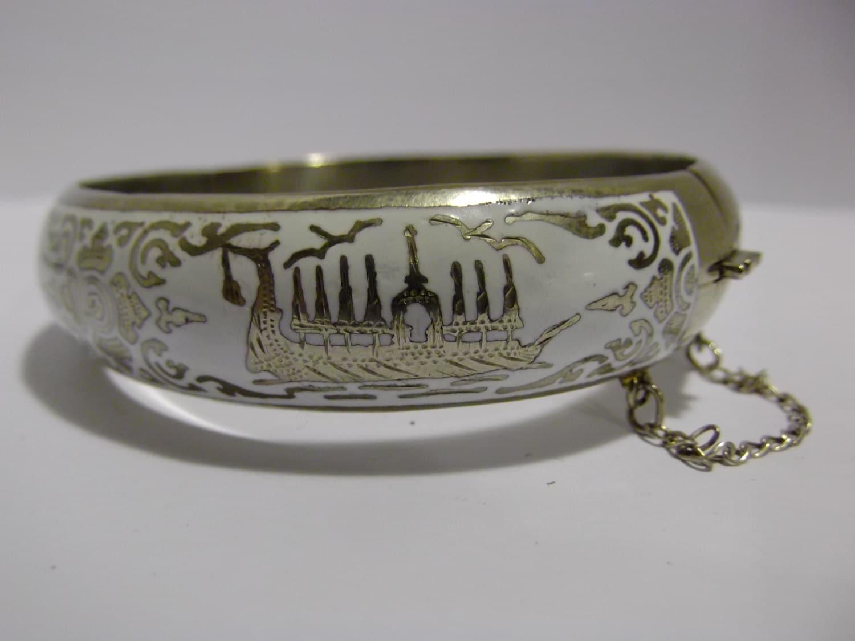 siam sterling silver bracelet white enamel by
