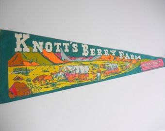 Knotts Berry Farm souvenir pennant / Teal Green felt pennant with Covered wagons Mountains / California / horse / white yellow / RV decor