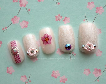Fleur D'Orient. Bridal, Wedding, Pearl, Fake Nails, Wedding Fake Nails, Japanese 3D Nail, Floral, Bridal Nail, Sakura, Bridal Nails for Her