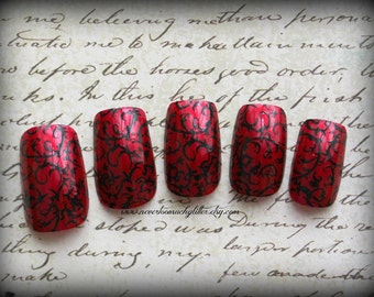 Red Gothic Baroque (Medium) Gothic Fake/False Nails Set, NEW SIZE! Reusable Press On Nails, Gothic Nail Art, Vampire Fake Nails