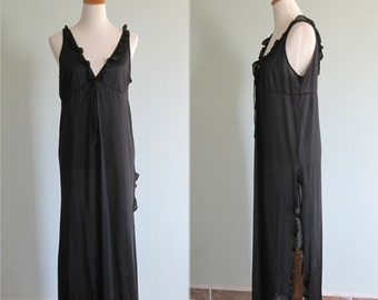 CLEARANCE Vintage 1970s Nightgown - Sexy Black Ruffled Nightgown with Thigh High Slit - 70s Flamenco Nightgown M L