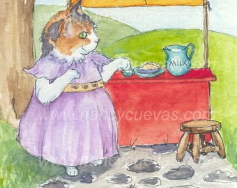 Milk and Pies - Blank Card of Original Ink & Watercolor Illustration by Nancy Cuevas