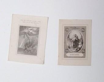French antique religious prayer cards - Sainte Marie & Saint Henri - Catholic communion cards-