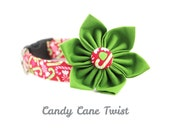 Cute Holiday Dog Collar - Candy Cane Twist