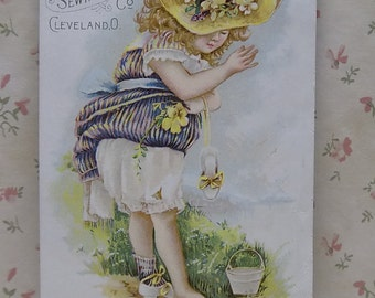 Fancy Girl-Large Hat-Flowers-Fashion-Victorian Trade Card-Standard Sewing Machine-Cleveland,OH