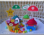 Print-INK Super Mario Bros. A La Carte Cupcake Holder and Toppers - DIY Digital Printable PDF