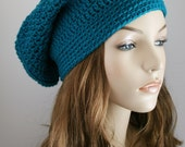 Slouchy Beanie Hat for Women - Slouch Hat Womens Crochet Hat Teal Plus Other Color Options - Unisex Hat Beret Hat or Tam Hat Great Gift