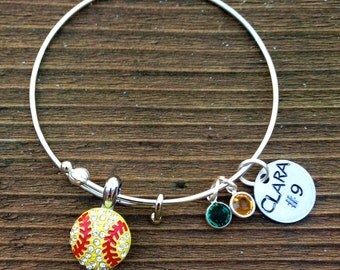 Alex and Ani inspired, adjustable bangle Softball bracelet.  Custom name, color and hand stamped name