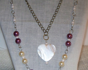 Necklace - Mother of Pearl (faux) Heart Charm Necklace - Red Wine Cream Glass Pearl Chain Necklace -  Glass Pearl Beaded Necklace