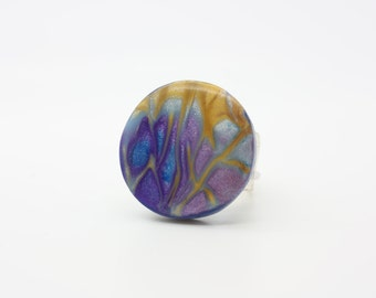 modern, striking, statement ring created with polymer clays