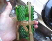 Vintage Green Gold Glass Toothbrush Vase Unusual Figural Brushes Vanity Jar