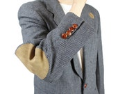 Elbow Patch Blazer 38R Mens Vintage Slate Blue Wool Tweed Professor Jacket Coat Free US Shipping