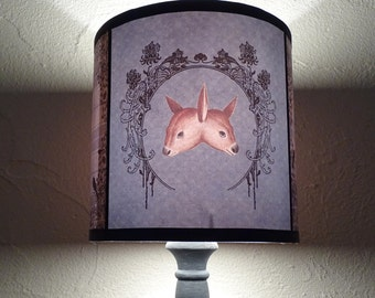 Woodland Freaks fawn lamp shade lampshade - unique lighting, siamese twins, cabinet of curiosities, deer lamp shade, fall decor, whimsical