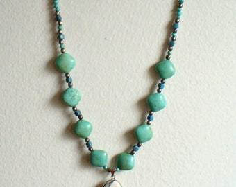 Blue green necklace, stone and metal beads