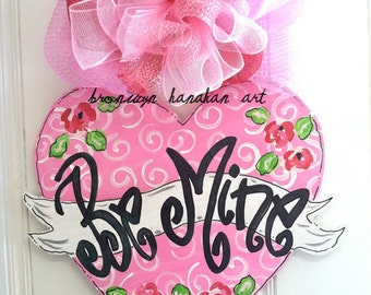 Be Mine Heart Door Hanger - Bronwyn Hanahan Art