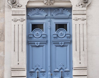 Paris Photography - Ornate Blue Door, Architecture Photography, France Travel Fine Art Photograph, French Home Decor, Large Wall Art