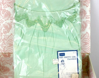 Vintage 60s Sears Deadstock Pajamas Original Bag Green Nylon The Pretty Girl PJs Unopened size 40