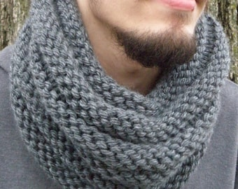 CHARCOAL Bosso Ribbed Infinity Cowl Hand Knit Scarf