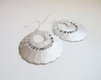 Scarlett Earrings - Large Round Scalloped Earrings