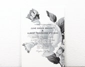 Printable wedding invitation / Floral wedding invitation / Vintage floral illustration / Black and white / DIY / Field Collection