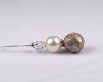 Olive Czech and Swarovski Stick Pin, 3 Inch Hat Pin, Lapel Pin, Hijab Pin H0132