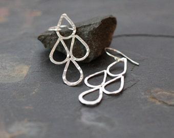 hammered earrings, chandelier earrings, sterling silver, teardrop earrings, unique gift, gift for her, lightweight earrings, dangle