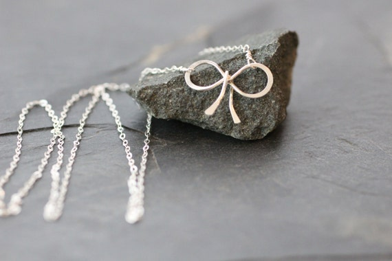 gold bow, silver bow necklace, delicate silver necklace, dainty silver necklace, simple silver necklace, bridesmaids gift, small bow, N10