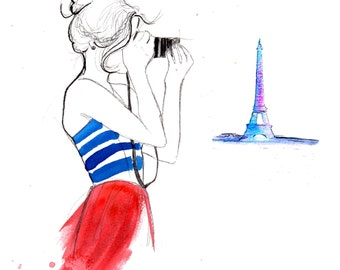 Girl About Paris, print from original watercolor and pen fashion illustration by Jessica Durrant