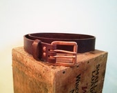 Hermann Oak Leather Belt with Copper Double Prong Buckle