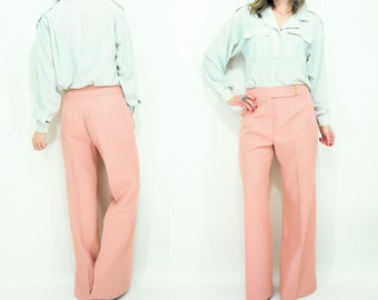 Vintage 70's High Waist Dusty Rose Baggy Wide Leg Trouser Pants