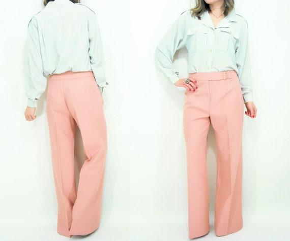 SALE...Vintage 70's High Waist Dusty Rose Baggy Wide Leg Trouser Pants