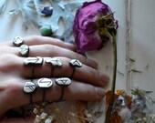 Molten Silver Rune Drop Stacker Ring- eihwaz