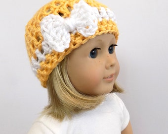18 Inch Doll Hat, Yellow Doll Beanie, Doll Clothing, Hat
