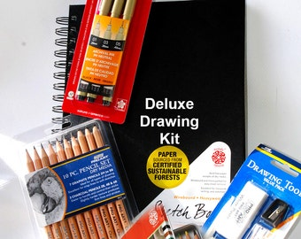 Drawing Kit, Pen and ink, Watercolor pencils,  Micron pens, drawing pencil set, Sketch book