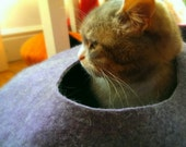 Cat Cave / cat bed - handmade felt - Purple/Grey or all Purple-S,M,L,Xl + free felted balls