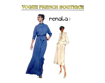 1970s Vogue French Boutique Dress Pattern Pullover Blouson Tie Collar Dress Day or Evening Vogue 1834 Renata Bust 32 Vintage Sewing Pattern