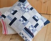 Linen Navy, modern quilted pillow