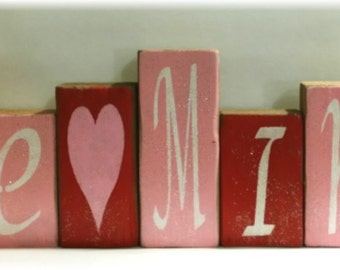 Valentine Be Mine Blocks Wood Set Pink And Red With Glitter