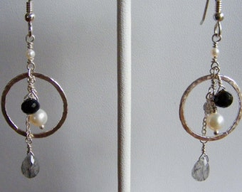 Black and White - Hand Forged Fine Silver with Gems and Pearls