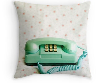 Throw Pillow Case Vintage Princess Phone : Call Me Retro Phone Throw Pillow Turquoise Teal Robins Egg Pink White Floral Pastel Home