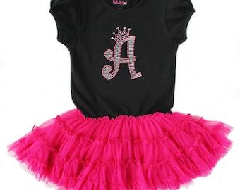 Bling Initial Pettidress, Birthday Dress, Personalized Monogram Dress, Girls Couture Dress, Birthday Princess