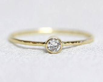 Natural SI White Diamond on a SOLID 14k Hammered White or Yellow Halo of Gold - Tiny Delicate Stacking Ring