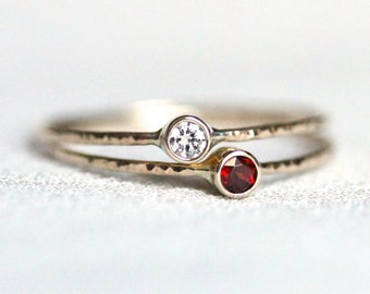 White Diamond and Birthstone Stack Rings - Solid 14k Rose or White or Yellow Gold - White Diamond and Stone Selection Set of Two Stacks