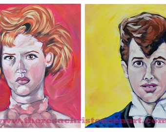 Set of Two 12x12 Pretty In Pink Inspired Art Prints - Andie and Duckie at Prom