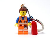 Emmet Keychain - made from The LEGO Movie LEGO (r) Minifigure - Piece of Resistance