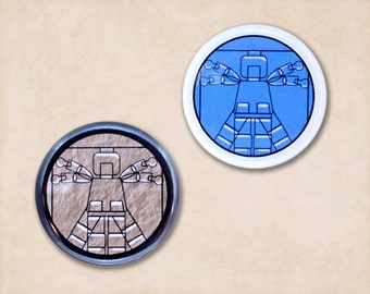 "Vitruvian Man Button, Pinback Button, Small Badge, Vitruvian LEGO (tm) Man, 1.25"" Button - B2"