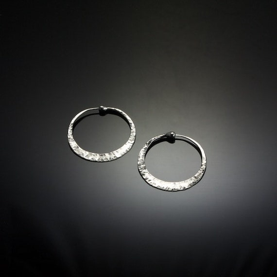 Small Cross Peen Sterling Silver Hoop Earrings